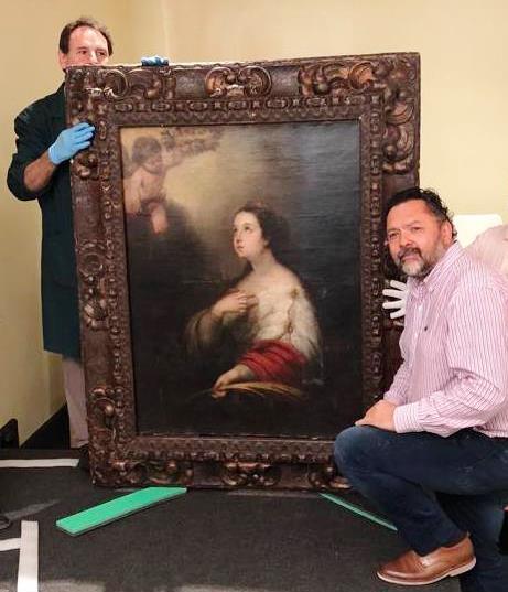"""Pintura llamada """"Santa Catalina"""" del pintor español Bartolomé Esteban Murillo, robada del Museo de Arte Decorativo """"Firma y Odilo Estévez"""" de Rosario hace 30 años."""