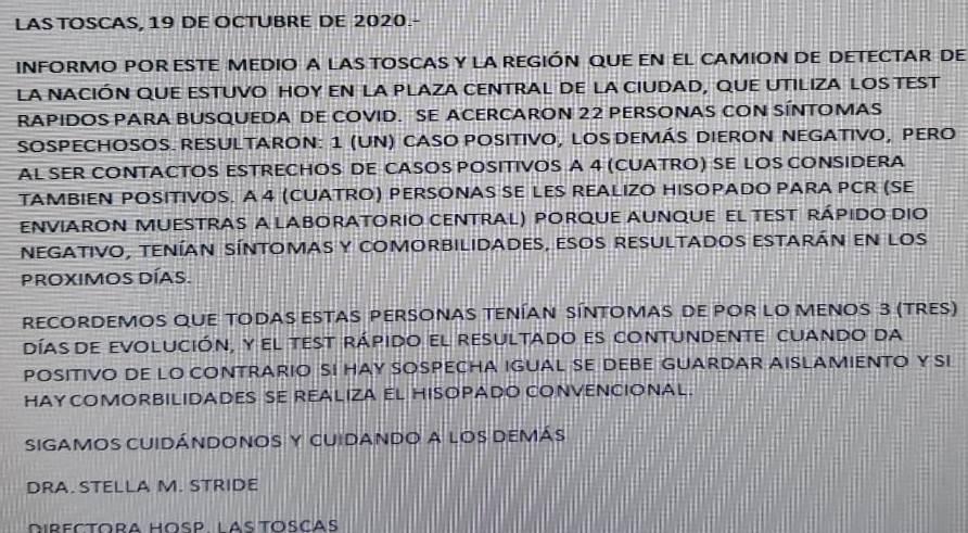 El informe de la Dra. Stella Maris Stride, directora del samco Las Toscas