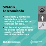 recomendaciones de prevención del SINAGIR ante tormentas anunciadas para el 8 y el 9 de abril 2